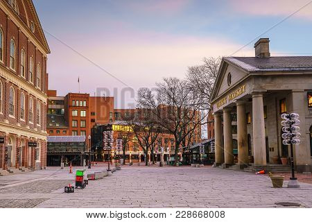 Faneuil Hall And The Boston Skyline