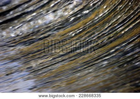 Water Cascade Waterfall Streaming Torrent Splashes Background, Large Detailed Horizontal Closeup, Br
