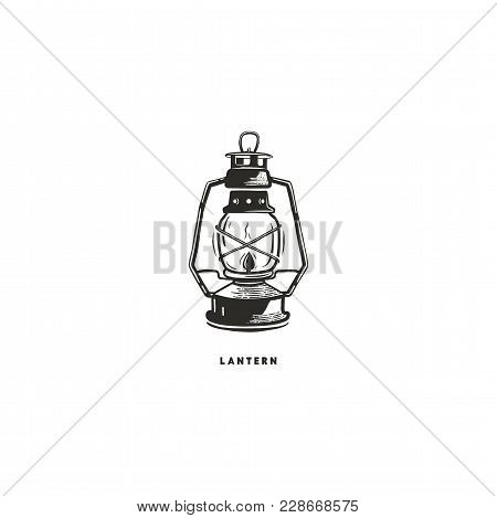 Vintage Hand Drawn Lantern Concept. Perfect For Logo Design, Badge, Camping Labels. Monochrome. Symb