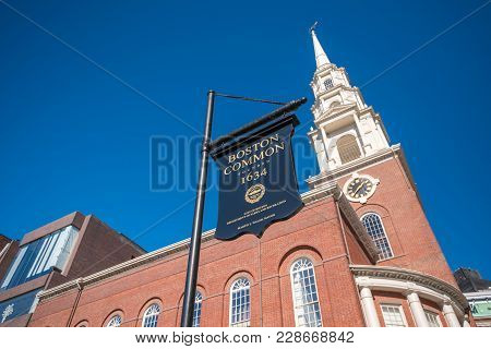 Park Street Church And Boston Common Sign