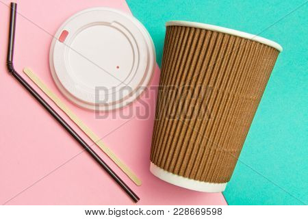 Disposable Cups For Hot Drinks Wand And Tube On A Geometric Pink And Turquoise Backgrounds. Paper Cu