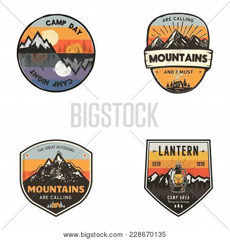 Set Of Vintage Hand Drawn Travel Logos. Hiking Labels Concepts. Mountain Expedition Badge Designs. T