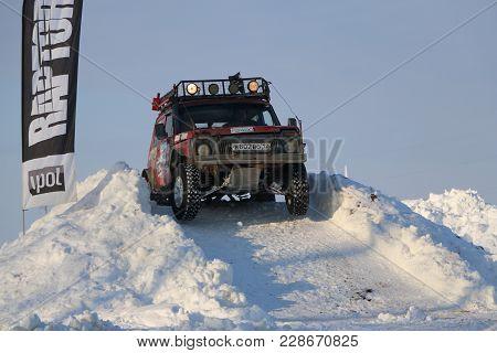 Saltac-korem, Russia - February 11, 2018: Winter Auto Show Modified Jeeps - Ice Kneading 2018..ridin