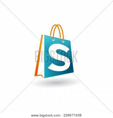 Vector Shopping Bag Logo Icon, Blue Bag With Letter S