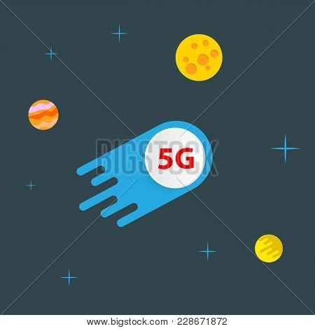 5g Meteorite Flies In Outer Space Among The Planets. Vector Illustration .