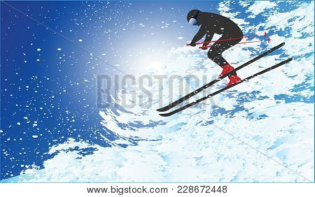 Skier Descends From The Mountain In A Whirlwind Of Snow - Vector Art Illustration.