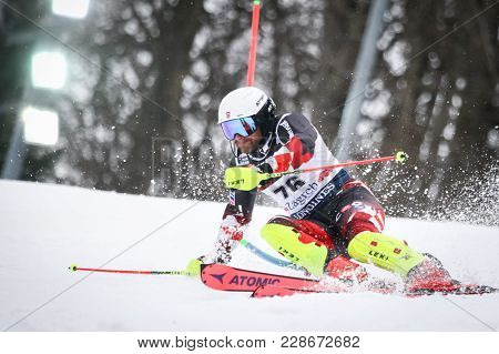 Zagreb, Croatia - January 4, 2018 : Zrncic Dim Natko Of Cro Competes During The Audi Fis Alpine Ski