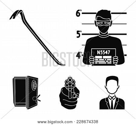 Photo Of Criminal, Scrap, Open Safe, Directional Gun.crime Set Collection Icons In Black Style Vecto
