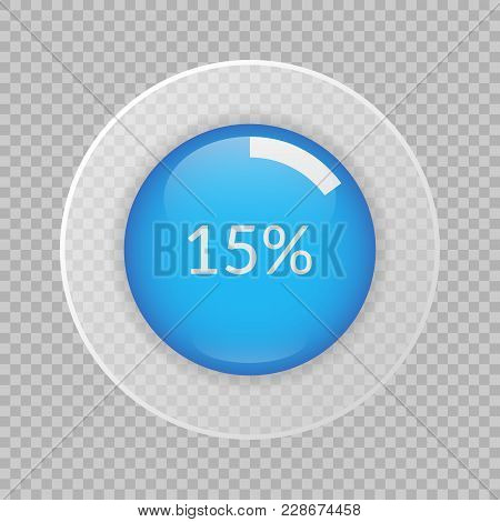 15 Percent Pie Chart On Transparent Background. Percentage Vector Infographics. Circle Diagram Isola