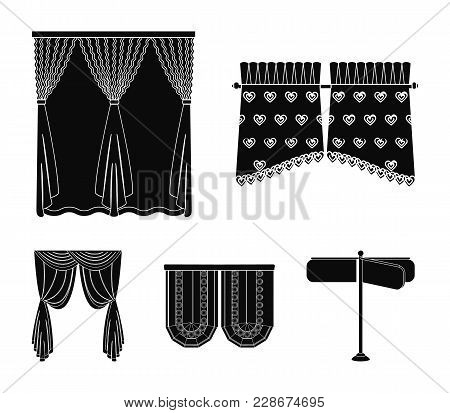Curtains, Stick, Cornices, And Other  Icon In Black Style.bow, Fabric, Tulle Icons In Set Collection