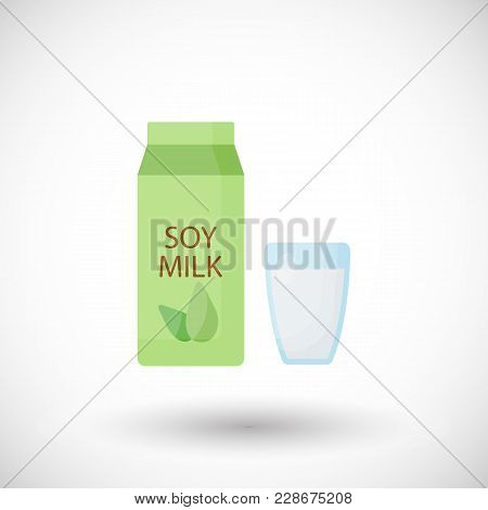 Soy Milk Flat Vector Icon, Pack And Glass Flat Design. Food, Healthy Eating Objects, Soy Product Wit