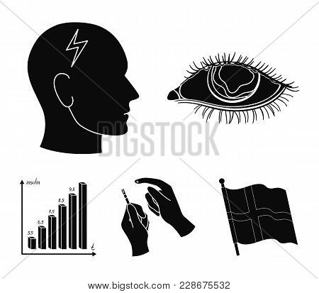 Poor Vision, Headache, Glucose Test, Insulin Dependence. Diabetic Set Collection Icons In Black Styl