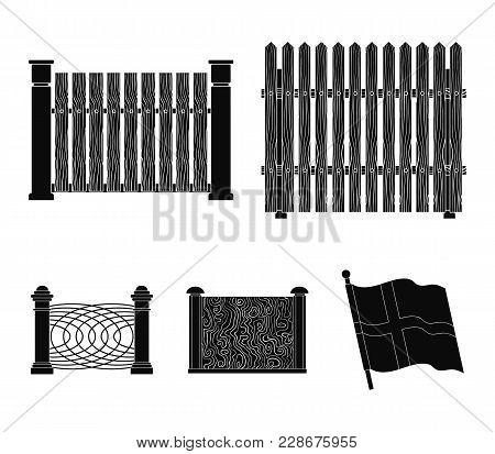 A Fence Of Metal And Bricks, Wooden Palisade. A Different Fence Set Collection Icons In Black Style