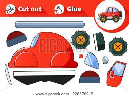 Cut And Glue Is An Educational Game For Kids. Vintage Red Car. Vector Eps10