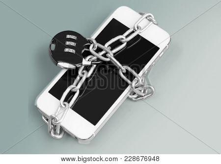 Phone Smart Lock Combination Padlock White Silver