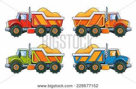 4 Trucks With Sand Side View. 4 Colors. Vector Eps10