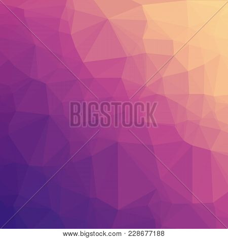 Low Poly Background - Abstract Low Poly Background With Purple & Orange Gradient