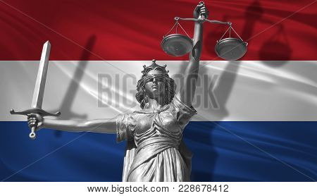 Cover About Law. Statue Of God Of Justice Themis With Flag Of Netherlands Background. Original Statu
