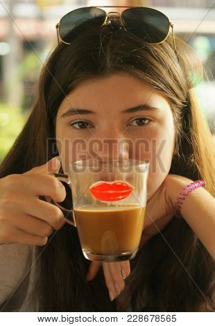 Young And Beautiful Teen Cofe Lover Girl Drink Coffee Chocolate Close Up Photo