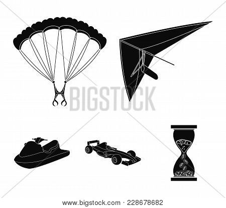 Hang Glider, Parachute, Racing Car, Water Scooter.extreme Sport Set Collection Icons In Black Style