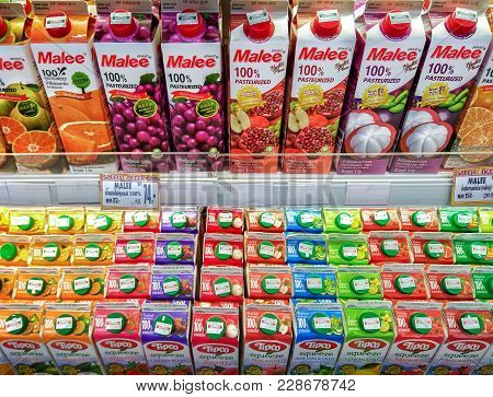 Bangkok, Thailand - February 24: Juice Cartons From Malee And Tipco  Fully Stocked Up On The Refrige