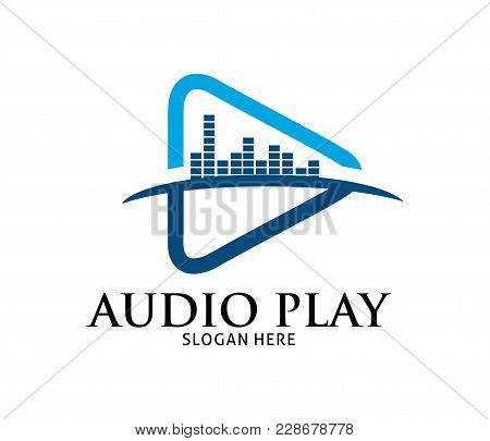 Blue Dynamic Multimedia Play Application Vector Logo Design