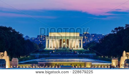 Lincoln Memorial At Night. Seen From National Mall, Washington Dc, Usa. Long Exposure Photography.