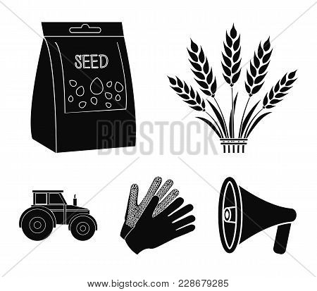 Spikelets Of Wheat, A Packet Of Seeds, A Tractor, Gloves.farm Set Collection Icons In Black Style Ve