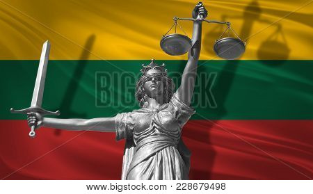Cover About Law. Statue Of God Of Justice Themis With Flag Of Lithuania Background. Original Statue