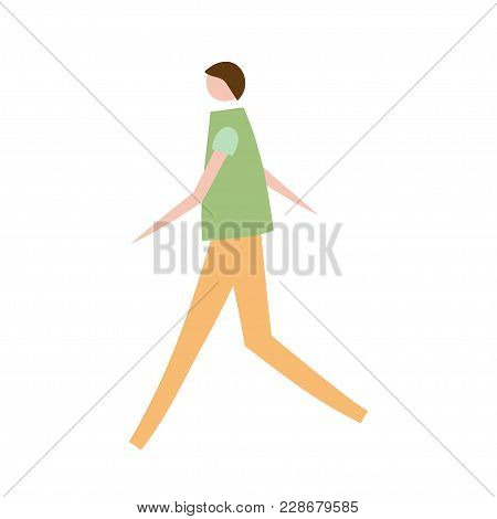 Vector Illustration Of Walking Man. Silhouette Of Guy Characters. Cartoon Flat Vector Design For Log
