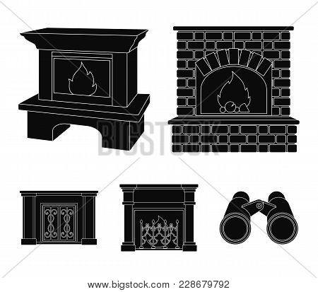 Fire, Warmth And Comfort.fireplace Set Collection Icons In Black Style Vector Symbol Stock Illustrat