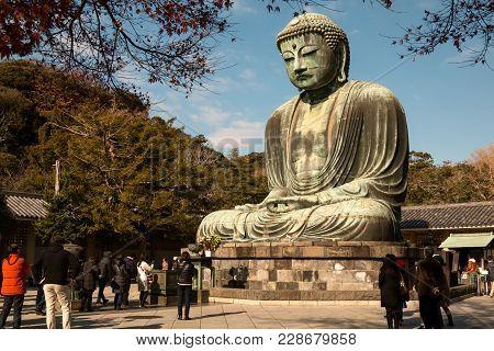 Kamakura Japan - 20dec 2015; Daibutsu Statue At Kotoku-in Temple; Monumental Outdoor Bronze Statue O