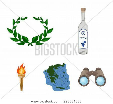 Greece, Country, Tradition, Landmark .greece Set Collection Icons In Cartoon Style Vector Symbol Sto