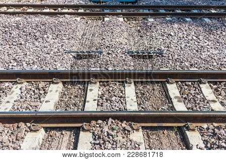Metal Wire Pulley System Under The Railway Track For Control The Direction Of The Train,rural Statio