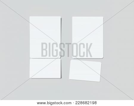 Two White Tear-off Tickets Isolated On Gray Background. 3d Rendering