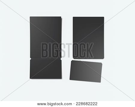 Two Black Tear-off Tickets Isolated On White Background. 3d Rendering