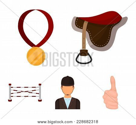 Saddle, Medal, Champion, Winner .hippodrome And Horse Set Collection Icons In Cartoon Style Vector S