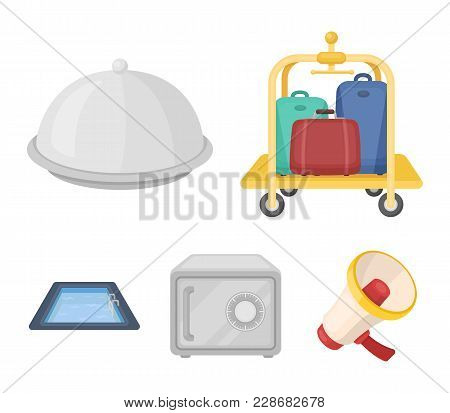 Trolley With Luggage, Safe, Swimming Pool, Clutch.hotel Set Collection Icons In Cartoon Style Vector