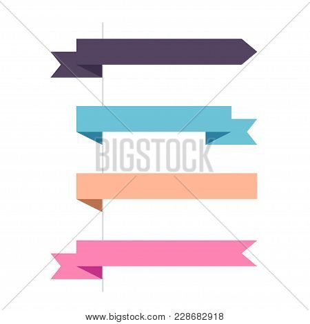 Flat Vector Four Horizontal Ribbon Banner And Pointers Banners. Set Of Decorative Colored Horizontal