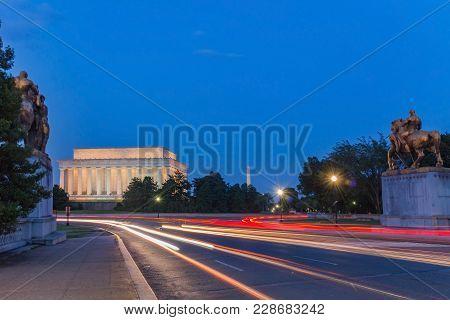 Lincoln Memorial At Night. Seen From Memorial Bridge, Washington Dc, Usa. Long Exposure Photography.