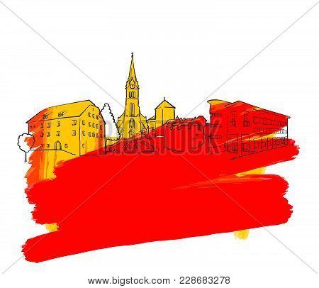 Vaduz Colorful Landmark Banner. Beautiful Hand Drawn Vector Sketch. Travel Illustration For Social M