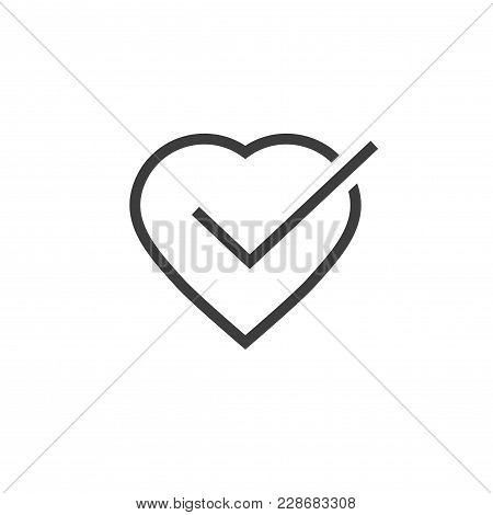 Heart Tick Icon Vector Illustration, Line Outline Art Healthy Heart With Checkmark Symbol, Idea Of C