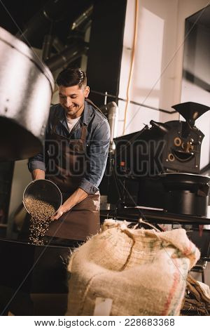Coffee Roaster Pouring Coffee Beans Into Roasting Machine