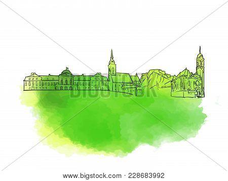 Bratislava Colorful Landmark Banner. Beautiful Hand Drawn Vector Sketch. Travel Illustration For Soc