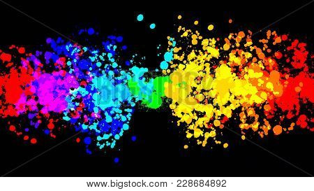 Vector Drops Rainbow Banner On Black. Beautiful Hand Drawn Vector Sketch. Colorful Elements For Soci