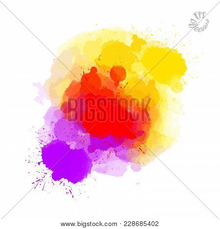 Abstract Painted Drops, Red Yellow And Violet. Beautiful Hand Drawn Vector Sketch. Colorful Elements