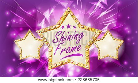 Star Sign Vector. Glowing Element. Retro Light Three Gold Star Banner. Premiere Film, Show, Disco, C