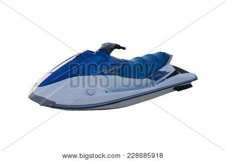Beautiful Blue Jet Ski Isolated On White