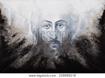 Icon Of Jesus Christ Shroud Executed By Watercolor On Black And White Background