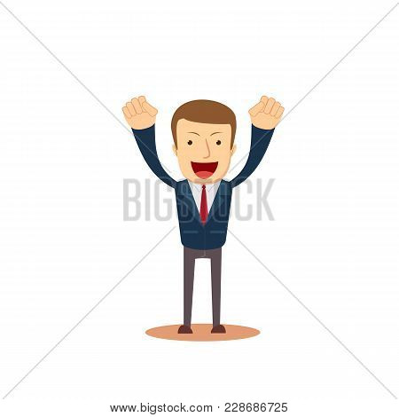 Successful Business Man With Arms Up. Full Length Portrait Of Happy Laughing Businessman With Hands